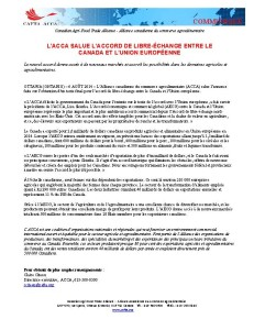 CAFTA Applauds Canada EU free trade agreement  August 2014_FR