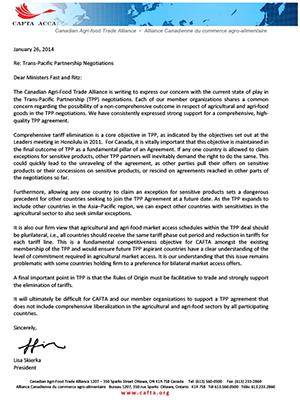 CAFTA Letter - TPP - Jan  26 2014
