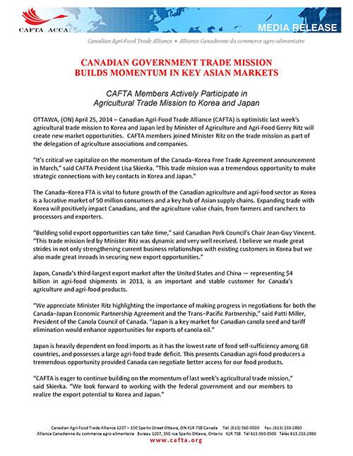 Ottawa On April 25 2014 Canadian Agri Food Trade Alliance