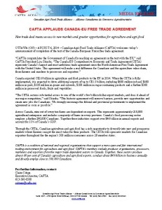CAFTA Applauds Canada EU free trade agreement  August 2014