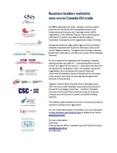 CETA coalition news release 24Sep2014 ENG & FRENCH